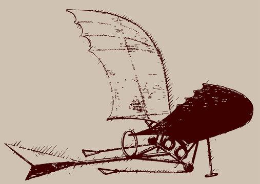 Flying Machine illustration / Leonardo da Vinci [vector]