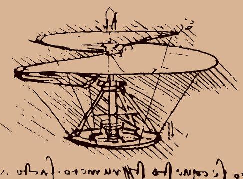 helicopter illustration / Leonardo da Vinci [vector]