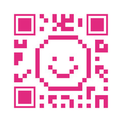 Wall Murals Pixel pink QR code happy face shape over white background. vector illustration