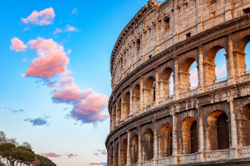 Wall Mural - Colosseum at sunset in Rome, Italy