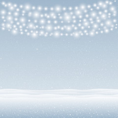Vector snow falling on blue background. Garlands.
