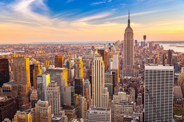 Wall Mural - Aerial view of New York City Manhattan at sunset