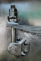 Detail of old steam train,suspension part close up.