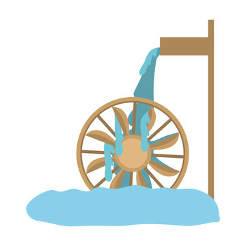 water mill wheel icon over white background. vector illustration