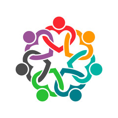 People Heart Group Teamwork Logo. Vector graphic design illustr