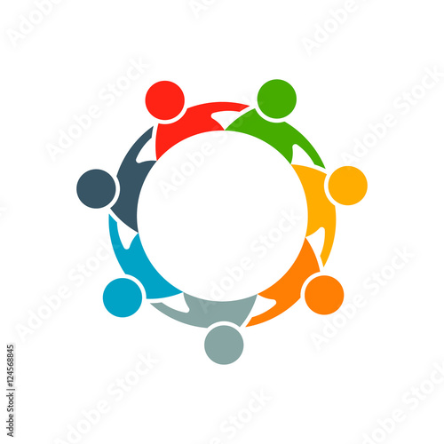 """A Collaborative Design Group: """" People Group Collaboration Logo. Vector Graphic Design"""