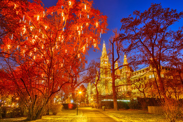 In de dag Wenen Vienna Town Hall and park decorated for Christmas