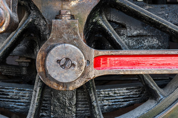 Detail of old steam train,mechanic close up.