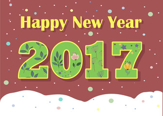 Happy New Year 2017. Green floral font
