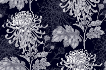 Seamless pattern with flowers of chrysanthemum.