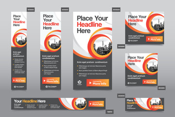 Orange Color Scheme with City Background Corporate Web Banner Template in multiple sizes. Easy to adapt to Brochure, Annual Report, Magazine, Poster, Corporate Advertising Media, Flyer, Website.