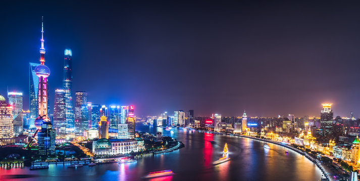 Shanghai Skyline at Night in China.