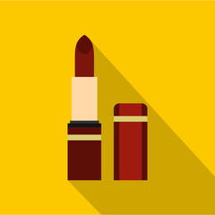 Red lipstick icon. Flat illustration of red lipstick vector icon for web isolated on yellow background