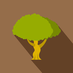 Green tree icon. Flat illustration of green tree vector icon for web isolated on coffee background