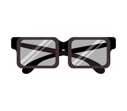 graphic with square glasses lens vector illustration