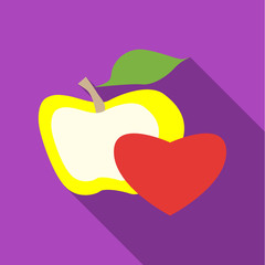Apple and heart icon. Flat illustration of apple and heart vector icon for web