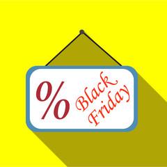 Sign sale black friday icon. Flat illustration of sign sale black friday vector icon for web