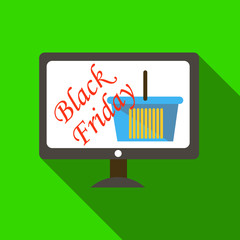 Monitor sale black friday icon. Flat illustration of monitor sale black friday vector icon for web