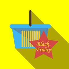 Basket for sale black friday icon. Flat illustration of basket for sale black friday vector icon for web