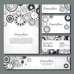 Vintage clock banner background set