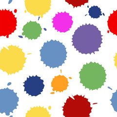 Vector seamless pattern. Seamless pattern of spots. Blots on the isolated white background. Watercolor abstract seamless background. Dotted texture. Pattern with spots of water.