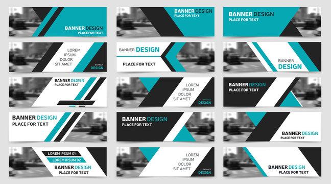 Set of blue horizontal business banner templates. Modern technology design.