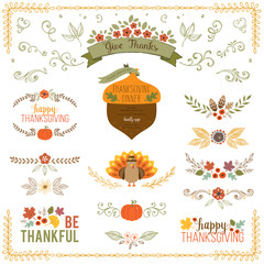 Autumn and Thanksgiving set with turkey, fall leaves, floral motifs, pumpkin, acorn, wreath, laurels and banner.