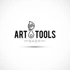 Art tools and materials for painting logo