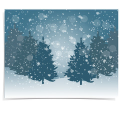 Christmas, New Year s gift card. The stylized image of blue spruce trees on a winter day. Snow in winter forest. Snowflakes. illustration