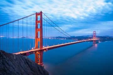 Golden Gate Bridge in San Francisco California after sunset