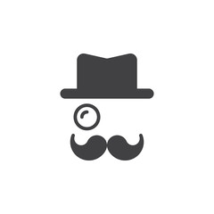 Monocle, Mustaches, Hat icon vector, solid logo illustration, pictogram isolated on white