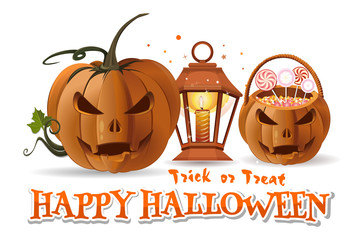 Halloween paper art with Halloween basket with sweets, jack-o'-lantern, burning candle, lamp and inscription - Happy Halloween. Trick or treat. Vector illustration isolated on white background