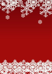 Snow flake on red background; Christmas season holiday template design; Happy celebration decor.