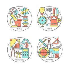 Vector set of logos biology, physics, geometry, mathematics.