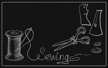 Retro advertising signs of sewing workshop with hand drawn sewin