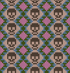 Seamless pattern with skull and ethnic mexican elements. Day of the dead, a traditional holiday in Mexico. For postcard or celebration design. Traditional Latin American patterns and ornaments