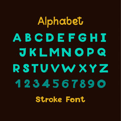 Alphabet. English Sloppy Fat Stroke Font Letters. Capital  and numbers.