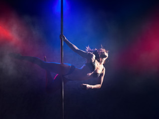 Female striptease on the pole