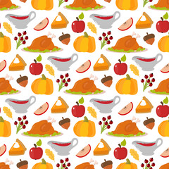 Happy Thanksgiving food seamless pattern vector.