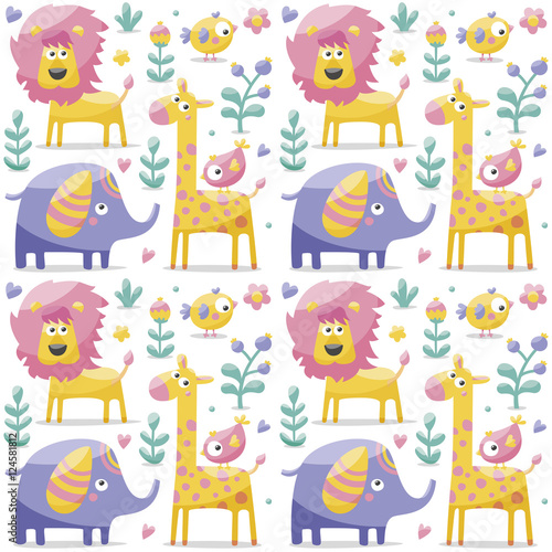 Seamless cute pattern made with elephants, lion,giraffe, birds, plants, jungle, flowers, hearts, leafs, stone, berry for kids