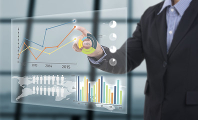 Businessman touching financial analysis graph with key performance indicators on virtual screen.