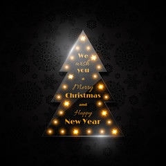 Transparent glass Christmas tree with glowing light, black  back