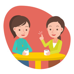 Two woman talking and drinking coffee in a cafe.