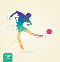 Football player, striking the ball with his foot. Blurred movement of the ball. Stylized polygonal. vector eps8