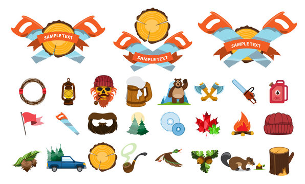 Vector set of various stylized Canada icons.