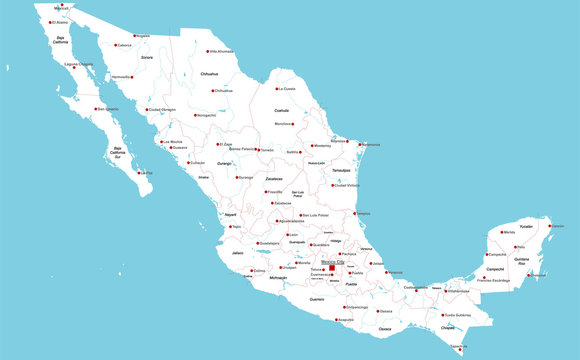 Large and detailed map of Mexico with regions and main cities
