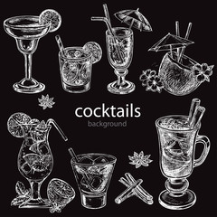 hand drawn sketch illustration cocteils on the black background