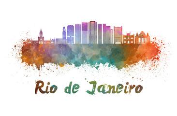 Wall Mural - Rio de Janeiro V2 skyline in watercolor