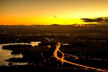 Yellow Sunset in Canberra