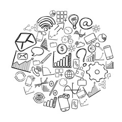 Circle of business hand drawn icons